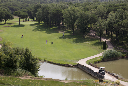 Camp de golf a la vora d'un riu amb pont